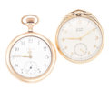 Timepieces:Pocket (post 1900), Two Elgin 12 Size Open Face Pocket Watches. ... (Total: 2 Items)