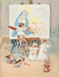 Pin-up and Glamour Art, AMERICAN ARTIST (20th Century). Angel Painting the NativityScene. Watercolor on board. 9.5 x 7.25 in.. Signed (indistin...