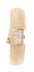 Timepieces:Wristwatch, Lucien Piccard 14k Gold & Diamond Covered Dial Wristwatch. ...