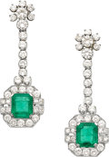 Estate Jewelry:Earrings, Emerald, Diamond, White Gold Earrings. ... (Total: 2 Pieces)