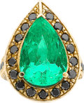 Estate Jewelry:Rings, Emerald, Black Diamond, Gold Ring. ...