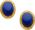 Estate Jewelry:Earrings, Lapis Lazuli, Diamond, Gold Earrings, Tiffany & Co.. ...