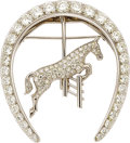 Estate Jewelry:Brooches - Pins, Diamond, Platinum, White Gold Brooch. ...