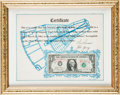 Explorers:Space Exploration, Gemini 3 (Molly Brown) Flown Crew-Signed One-Dollar Bill onOriginal Crew-Signed Certificate....