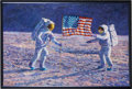 """Explorers:Space Exploration, Alan Bean Original Painting: """"John F. Kennedy's Vision"""" PortrayingArmstrong and Aldrin Planting the U.S. Flag on the Moon. ..."""