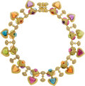 Estate Jewelry:Necklaces, Multi-Stone, Diamond, Gold Necklace, Laura Munder . ...