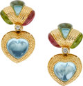 Estate Jewelry:Earrings, Multi-Stone, Diamond, Gold Earrings, Laura Munder . ...