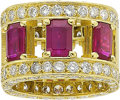 Estate Jewelry:Rings, Ruby, Sapphire, Diamond, Gold Eternity Band. ...