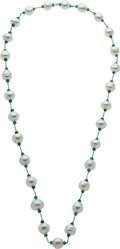 Estate Jewelry:Necklaces, South Sea Cultured Pearl, Emerald, White Gold Necklace. ...