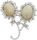 Estate Jewelry:Brooches - Pins, Opal, Diamond, White Gold Brooch. ...