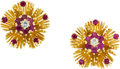 Estate Jewelry:Earrings, Retro Ruby, Diamond, Gold Earrings, English. ...