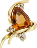Estate Jewelry:Pendants and Lockets, Topaz, Diamond, Gold Pendant-Brooch. ...