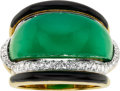 Estate Jewelry:Rings, Chrysoprase, Black Onyx, Diamond, Platinum, Gold Ring, David Webb ....