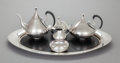 Silver & Vertu:Hollowware, A SIX PIECE REED & BARTON DIMENSION PATTERN SILVER-PLATED MODERNIST TEA AND COFFEE SERVICE, DESIGNED BY JOHN PRIP... (Total: 6 )