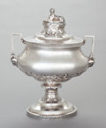 Silver Holloware, American, AN F.W. COOPER COIN SILVER EGYPTIAN REVIVAL COVERED SOUP TUREEN .F. W. Cooper, New York, New York, circa 1868. Marks: F.W...
