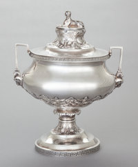 AN F.W. COOPER COIN SILVER EGYPTIAN REVIVAL COVERED SOUP TUREEN F. W. Cooper, New York, New York, circa 1868 M