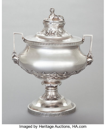 AN F.W. COOPER COIN SILVER EGYPTIAN REVIVAL COVERED SOUP TUREEN  F. W. Cooper, New York, New York, circa 1868 Marks: F.W...