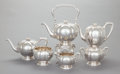 Silver Holloware, American:Tea Sets, A SIX PIECE MERRILL SILVER TEA AND COFFEE SERVICE. The MerrillShops, New York, New York, circa 1910. Marks to teapot: (wing...(Total: 6 Items)