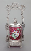Silver Holloware, American:Other , A PAIRPOINT SILVER-PLATED AND ENAMELED CRANBERRY GLASS PICKLECASTER. The Pairpoint Corporation, New Bedford, Massachusetts,...(Total: 4 Items)
