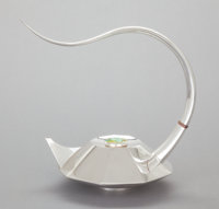 A MICHAEL AND MAUREEN BANNER NINE SIDED SILVER TEAPOT Michael J. Banner and Maure