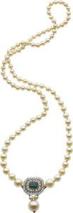 Estate Jewelry:Necklaces, Natural Pearl, Cultured Pearl, Emerald, Diamond, Platinum-Topped Gold Necklace. ...