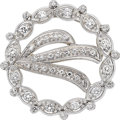 Estate Jewelry:Brooches - Pins, Diamond, White Gold Pendant-Brooch. ...
