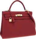 Luxury Accessories:Bags, Hermes 32cm Rouge H Clemence Leather Retourne Kelly Bag with GoldHardware. ...