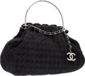 Luxury Accessories:Bags, Chanel Black Tweed Iconic Knitting Bag with Silver Hardware. ...