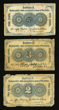 Obsoletes By State:Ohio, Dalton, OH- Otis & Tanner 2¢; 3¢; 5¢ 1863 Wolka Unlisted; -01;-02. ... (Total: 3 notes)