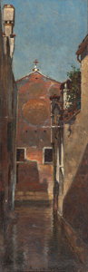 Fine Art - Painting, American:Antique  (Pre 1900), DAVID MAITLAND ARMSTRONG (American, 1836-1918). Venice,1872. Oil on board. 10-3/4 x 3-1/2 inches (27.3 x 8.9 cm). Signe...