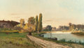 Fine Art - Painting, American:Antique  (Pre 1900), CHARLES EDOUARD DU BOIS (American, 1847-1885). Path Along theShore, 1878. Oil on canvas. 17 x 29 inches (43.2 x 73.7 cm...