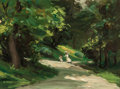 Fine Art - Painting, American:Modern  (1900 1949)  , HOWARD MCLEAN (American, 1879-1952). Path in Central Park.Oil on board. 5-3/4 x 8 inches (14.6 x 20.3 cm). Signed lower...