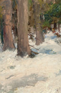 Fine Art - Painting, American, FRANK B. MOULTON (American, 1847-1932). Snowy Forest. Oil onboard. 9-1/2 x 6-7/8 inches (24.1 x 17.5 cm). Initialed low...
