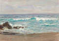 Fine Art - Painting, American, STEPHEN SEYMOUR THOMAS (American, 1868-1956). Opalescent Sea,Carmel, California, 1943. Oil on panel. 10 x 13-5/8 inches...
