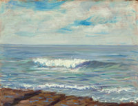 STEPHEN SEYMOUR THOMAS (American, 1868-1956) Whispering Waves, La Jolla, 1932 Oil on panel 10-1/4