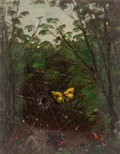 Fine Art - Painting, American, LEMUEL MAYNARD WILES (American, 1826-1905). Butterfly in aSpiderweb. Oil on board. 4-5/8 x 3-5/8 inches (11.7 x 9.2cm)...