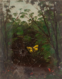 LEMUEL MAYNARD WILES (American, 1826-1905) Butterfly in a Spiderweb Oil on board 4-5/8 x 3-5/8 in