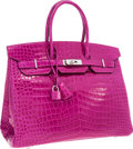Luxury Accessories:Bags, Hermes 35cm Shiny Rose Scheherazade Porosus Crocodile Birkin Bag with Palladium Hardware. ...