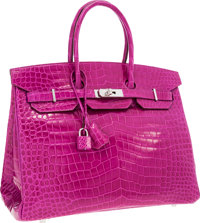 Hermes 35cm Shiny Rose Scheherazade Porosus Crocodile Birkin Bag with Palladium Hardware