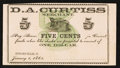Obsoletes By State:Ohio, Fitchville, OH- D.A. Curtiss 5¢ Jan. 1, 1863 Remainder Wolka1108-01. ...