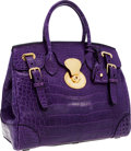 Luxury Accessories:Bags, Ralph Lauren Shiny Purple Crocodile Ricky Bag. ...