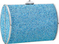 Luxury Accessories:Bags, Judith Leiber Full Bead Blue Crystal Rectangular Minaudiere Evening Bag. ...