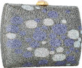Luxury Accessories:Bags, Judith Leiber Full Bead Purple & Silver Crystal SpottedRectangular Minaudiere Evening Bag. ...