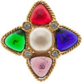Luxury Accessories:Accessories, Chanel Gold Brooch with Multi-color Gripoix & Glass Pearl. ...