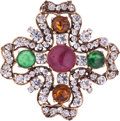Luxury Accessories:Accessories, Chanel Gold, Crystal & Multicolor Cabochon Gripoix Brooch. ...