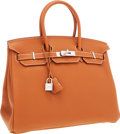 Luxury Accessories:Bags, Hermes 35cm Gold Clemence Leather Birkin Bag with Palladium Hardware. ...