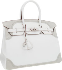 Hermes Limited Edition 35cm White & Gris Perle Swift Leather Ghillies Birkin Bag with Palladium Hardware