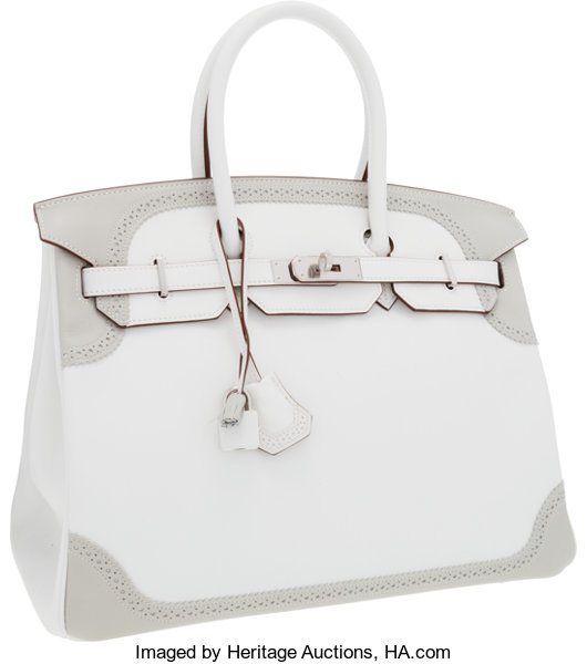 859f1216fb Hermes Limited Edition 35cm White   Gris Perle Swift