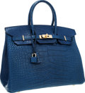 Luxury Accessories:Bags, Hermes 35cm Matte Blue de Malte Alligator Birkin Bag with GoldHardware. ...