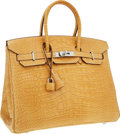 Luxury Accessories:Bags, Hermes 35cm Matte Paille Alligator Birkin Bag with PalladiumHardware. ...